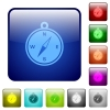Color compass square buttons - Set of compass color glass rounded square buttons