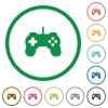 Set of Game controller color round outlined flat icons on white background - Game controller outlined flat icons