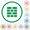 Brick wall outlined flat icons - Set of Brick wall color round outlined flat icons on white background