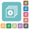 Flat play files icons - Flat play files icons on rounded square color backgrounds.