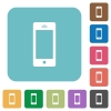 Flat cellphone icons - Flat cellphone icons on rounded square color backgrounds.