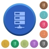 Embossed data network buttons - Set of round color embossed data network buttons