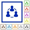 Online users framed flat icons - Set of color square framed Online users flat icons