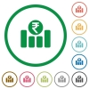 Indian Rupee graph outlined flat icons - Set of Indian Rupee graph color round outlined flat icons on white background