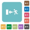 Flat exit icons - Flat exit icons on rounded square color backgrounds.