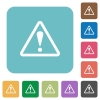 Flat warning sign icons on rounded square color backgrounds. - Flat warning sign icons