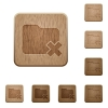 Folder cancel wooden buttons - Set of carved wooden Folder cancel buttons in 8 variations.