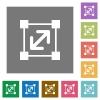 Resize element square flat icons - Resize element flat icon set on color square background.