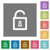 Unlocked padlock square flat icons - Unlocked padlock flat icon set on color square background.