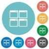 Flat Mosaic window view mode icons - Flat Mosaic window view mode icon set on round color background.