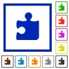 Set of color square framed Puzzle flat icons - Puzzle framed flat icons