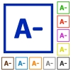Decrease font size framed flat icons - Set of color square framed Decrease font size flat icons