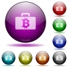 Bitcoin bag glass sphere buttons - Set of color Bitcoin bag glass sphere buttons with shadows.