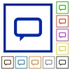 Set of color square framed chat flat icons - Chat framed flat icons