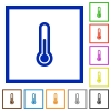Thermometer framed flat icons - Set of color square framed thermometer flat icons