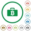 Bitcoin bag outlined flat icons - Set of Bitcoin bag color round outlined flat icons on white background
