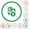 Euro Yen exchange outlined flat icons - Set of Euro Yen exchange color round outlined flat icons on white background