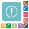 Flat error sign icons - Flat error sign icons on rounded square color backgrounds.
