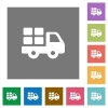 Transport square flat icons - Transport flat icon set on color square background.