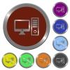 Color desktop computer buttons - Set of color glossy coin-like desktop computer buttons.