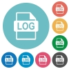 Flat LOG file format icons - Flat LOG file format icon set on round color background.