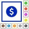 Dollar sticker framed flat icons - Set of color square framed Dollar sticker flat icons
