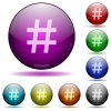 Hashtag glass sphere buttons - Set of color Hashtag glass sphere buttons with shadows.