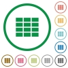Spreadsheet outlined flat icons - Set of Spreadsheet color round outlined flat icons on white background