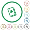 Card game outlined flat icons - Set of Card game color round outlined flat icons on white background