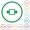 Width tool outlined flat icons - Set of Width tool color round outlined flat icons on white background