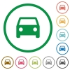 Car outlined flat icons - Set of car color round outlined flat icons on white background