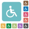 Flat disability icons - Flat disability icons on rounded square color backgrounds.