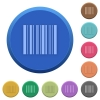 Embossed barcode buttons - Set of round color embossed barcode buttons