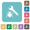 Flat bug fixing icons - Flat bug fixing icons on rounded square color backgrounds.