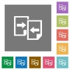 Share documents square flat icons - Share documents flat icon set on color square background.