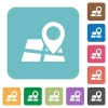 Flat map location icons - Flat map location icons on rounded square color backgrounds.