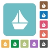 Flat sailboat icons - Flat sailboat icons on rounded square color backgrounds.