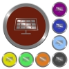 Set of color glossy coin-like solar panel buttons. - Color solar panel buttons