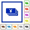 Yen banknotes framed flat icons - Set of color square framed Yen banknotes flat icons