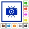 Chip tuning framed flat icons - Set of color square framed Chip tuning flat icons
