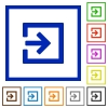Import framed flat icons - Set of color square framed import flat icons