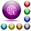 Internet security glass sphere buttons - Set of color Internet security glass sphere buttons with shadows.