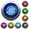 International button set - Set of round glossy international buttons. Arranged layer structure.