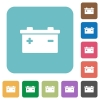 Flat accumulator icons on rounded square color backgrounds. - Flat accumulator icons