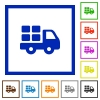 Transport framed flat icons - Set of color square framed transport flat icons