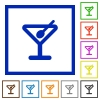 Cocktail framed flat icons - Set of color square framed cocktail flat icons