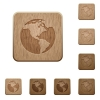 Earth wooden buttons - Set of carved wooden Earth buttons in 8 variations.