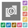 Pound coins square flat icons - Pound coins flat icon set on color square background.