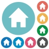 Flat home icons - Flat home icon set on round color background.