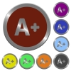 Set of color glossy coin-like increase font size buttons. - Color increase font size buttons